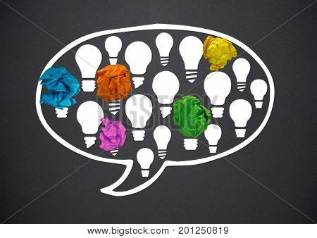Digital composite of light bulbs chat bubble with crumpled paper balls in front of blackboard