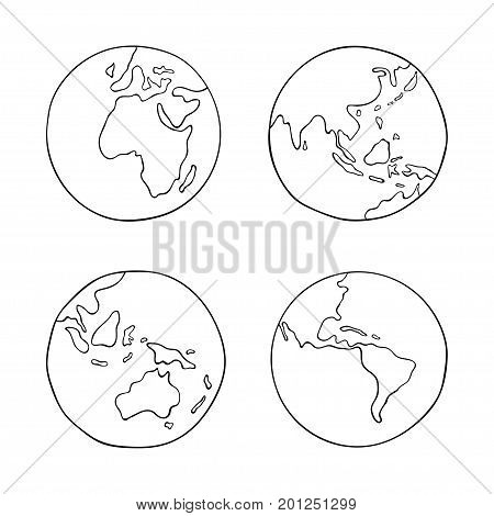 Hand drawn world planet Earth. Vector illustration with globes. Earth from four sides isolated on white background. Set of sketch Earth globes for design. World map with black contour.