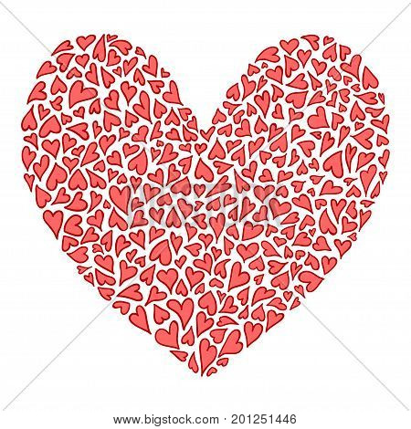Big heart of many small hearts in red and pink colors. Valentine symbol. Hand drawn big heart isolated on white background. Abstract decorative heart with lot of valentines hearts. Vector illustration
