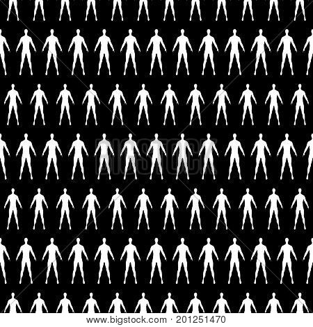 black seamless pattern with white human silhouette. vector