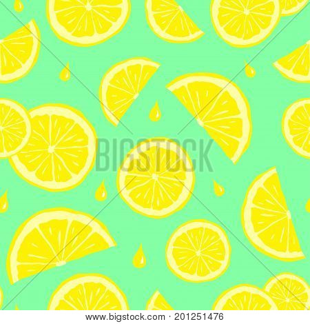 Cute seamless pattern with lemons. Colorful vector illustration. Bright citrus. Vector texture for your design wrapping paper fabric wallpaper.