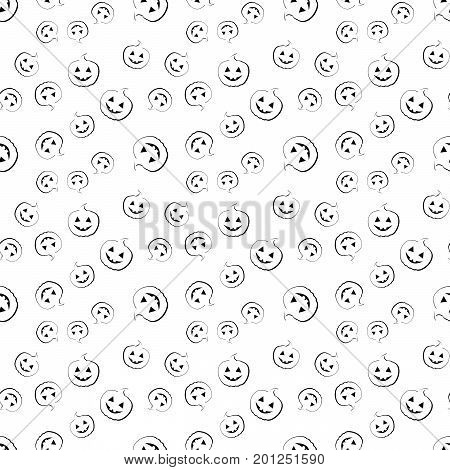 white seamless pattern with black pumpkin for Halloween. vector