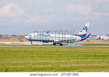 Airplane Touchdown: Sunexpress Boeing 737 Landing, Airport Stuttgart, Germany