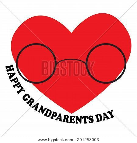 Vector illustration with the inscription Happy Grandparents Day with the heart and glasses for the National Grandparents Day. Illustration with phrase can be used to design of greeting cards and sites printing on T-shirts cups etc.