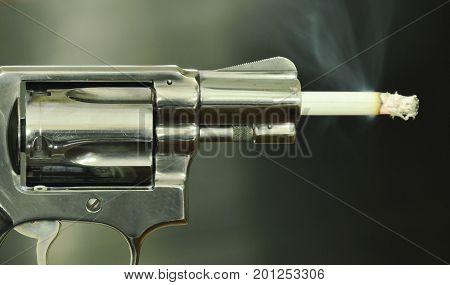 cigarette fire in gun muzzle compared smoking can kills
