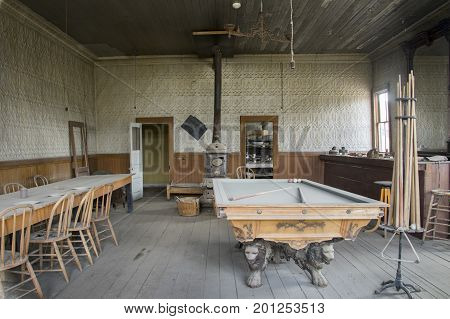 Pool Table And Bar, Wheaton And Hollis Hotel, Bodie, California
