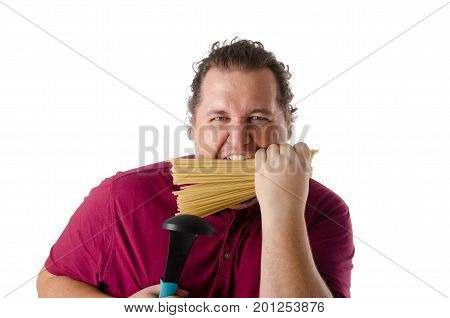 Cheerful funny cook. Kitchen tools. Fat guy. Pasta.