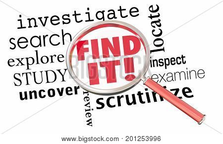 Find It Magnifying Glass Research Investigate 3d Illustration