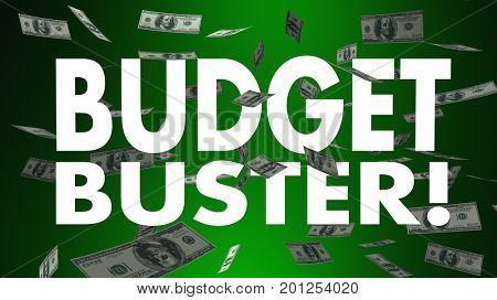 Budget Buster Spending Money Falling Big Expense 3d Illustration