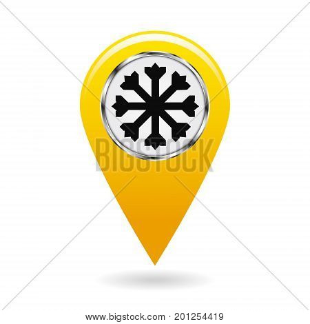 Map pointer. The pointer of snow drifts and icy areas on the map terrain. safety symbol. Yellow object on white background. Vector illustration.
