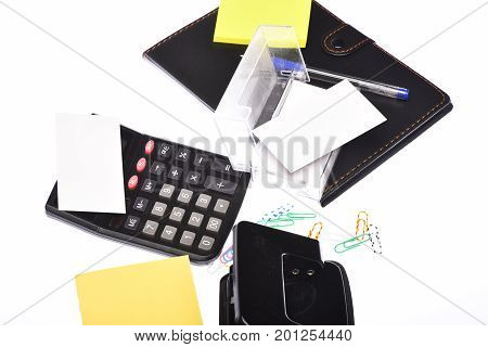 Office Tools And Organizer Isolated On White Background