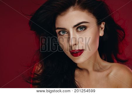 Beauty Brunette Woman With Perfect Makeup. Beautiful Professional Holiday Make Up. Beauty Girl  Face