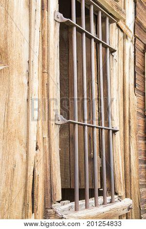 Bars On Window Of Old Wooden  Jail