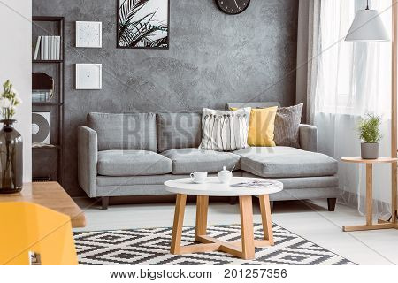 Room With Wooden Coffee Table