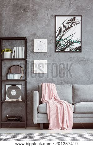 Grey Sofa With Pink Coverlet