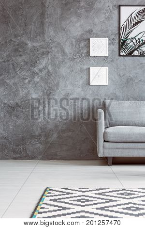 Monochromatic Living Room With Carpet