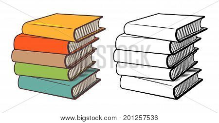 Stacks of books. Stylized vector illustration outline and colored version