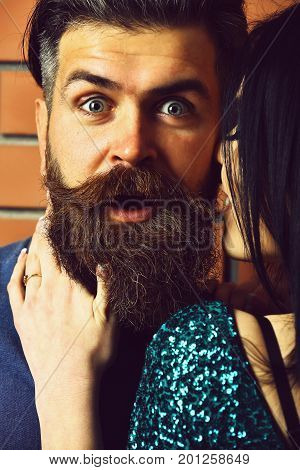 Surprised Bearded Man And Pretty Sexy Woman
