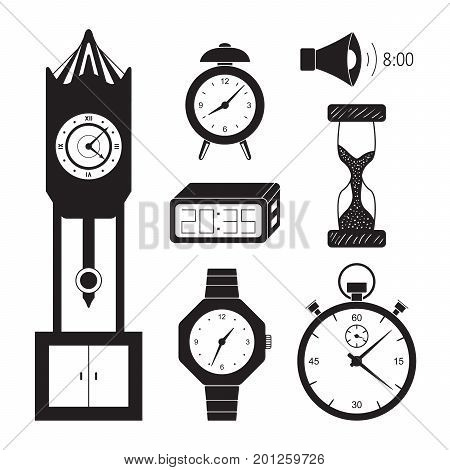 Clocks icon set vector. Retro and modern clock collection. Alarm clock, old clock, hourglass, stop-watch and other symbols of time. Vector isolated clock sign illustration.