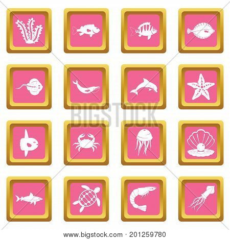 Sea animals icons set in pink color isolated vector illustration for web and any design