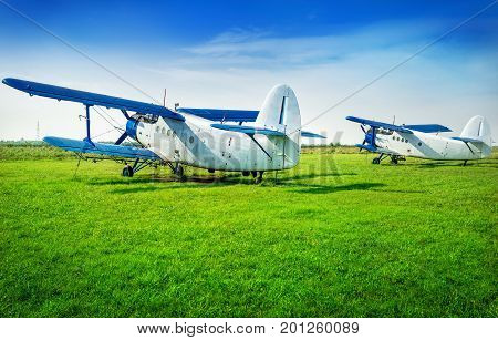 white biplanes on a meadow waiting for the next flight