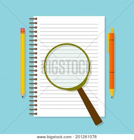 Spiral opened notepad with loupe, pencil and pen. Top view. Vector illustration