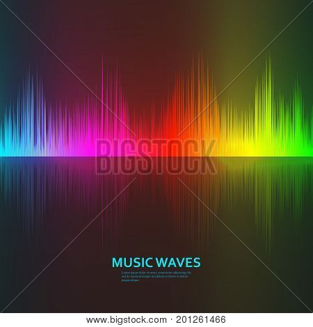 Music waves background. Rainbow sound music equalizer with reflection. Vector illustration
