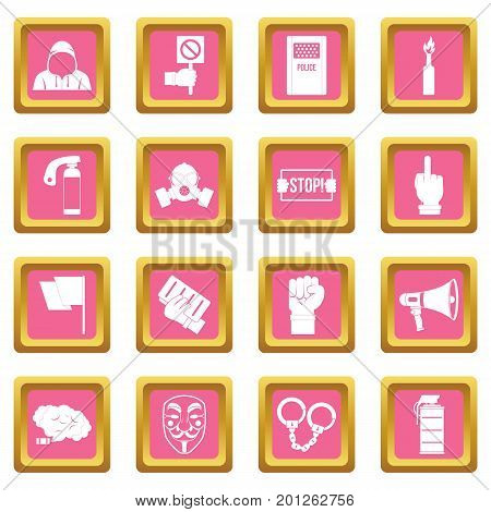 Protest icons set in pink color isolated vector illustration for web and any design