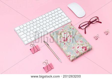 Minimal Flat Lay Stock Photo. pink background