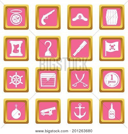 Pirate icons set in pink color isolated vector illustration for web and any design