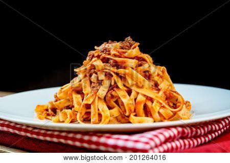 tasty pasta Italian meat sauce pasta on the table