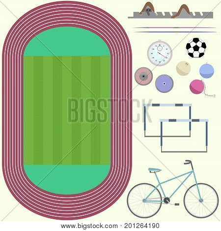 Top view of stadium athletics furniture bicycle discus spear soccer ball stopwatch flat images in vector
