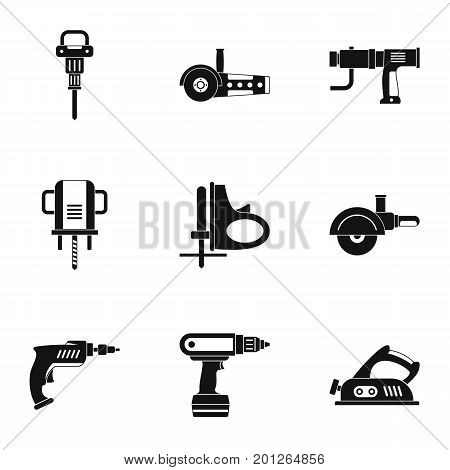 House electric tool icon set. Simple set of 9 house electric tool vector icons for web isolated on white background