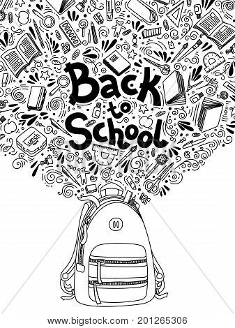 Stationery collection. Outline style. Back to school thin line vector doodle illustration template isolated on white background. Sketchy vector concepts with stationery for graphic design, web banner and printed materials. Back to school. Writing material