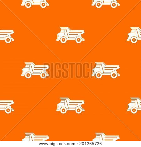 Dump truck pattern repeat seamless in orange color for any design. Vector geometric illustration