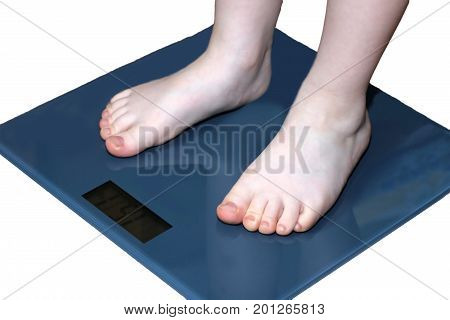 Children overweight young boy on a bathroom scale isolated