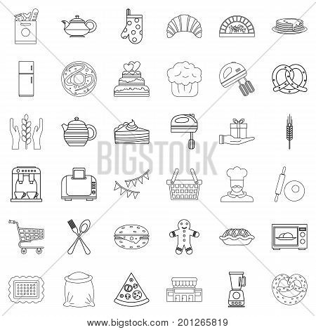 Gastronomy icons set. Outline style of 36 gastronomy vector icons for web isolated on white background