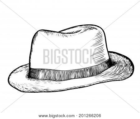 Hand drawing Cowboy Hat. Black and White simple line Vector Illustration for Coloring Book - Line Drawn Vector