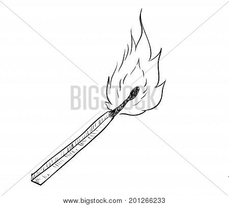 Hand drawing of fire burning Match. Black and White simple line Vector Illustration for Coloring Book - Line Drawn Vector