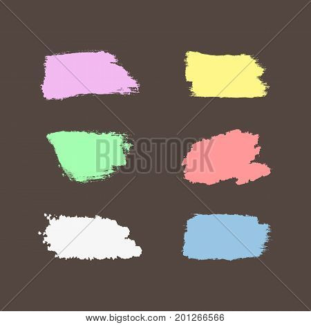 Set of colour brush strokes. Lilac yellow green pink white blue brushstrokes isolated on brown background. Grunge sketch ink graffiti watercolor. Vector illustration.