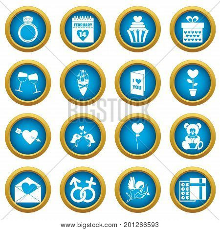 Saint Valentine icoins set. Simple illustration of 16 Saint Valentine vector icons blue circle set isolated on white for digital marketing
