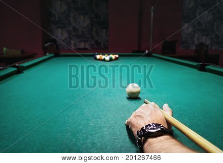Billiard Time Table, Balls And Cue