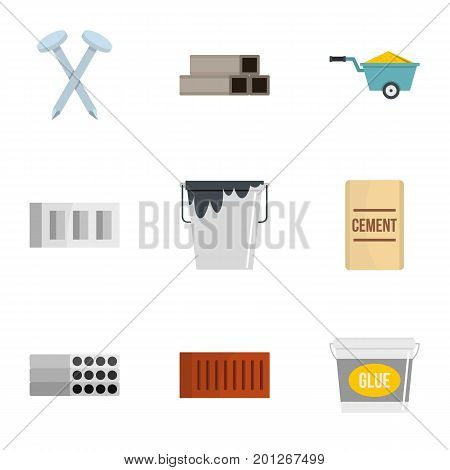 Home construction tool icon set. Flat set of 9 home construction tool vector icons for web isolated on white background