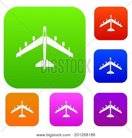 Armed fighter jet set icon in different colors isolated vector illustration. Premium collection