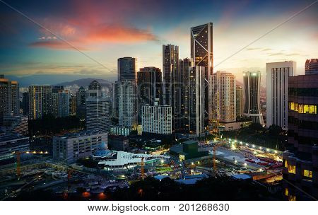 Cityscape with modern and developmental twilight scene Kuala Lumpur Malaysia .