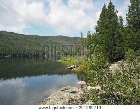 rocky Shoreline of Monarch Lake in Colorado