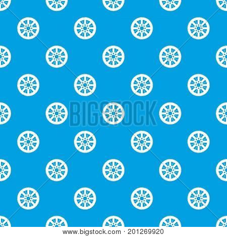 Sprocket from bike pattern repeat seamless in blue color for any design. Vector geometric illustration