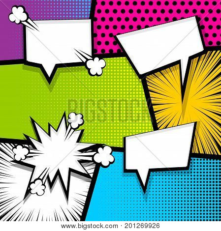 Pop art comics book magazine cover template. Cartoon funny vintage strip comic superhero text, speech bubble, balloon, box message, burst bomb. Vector halftone illustration.