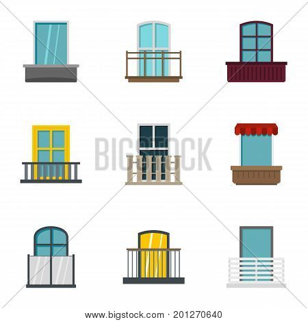 Construction balcony icon set. Flat set of 9 construction balcony vector icons for web isolated on white background