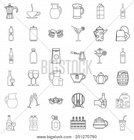 Barrel icons set. Outline style of 36 barrel vector icons for web isolated on white background